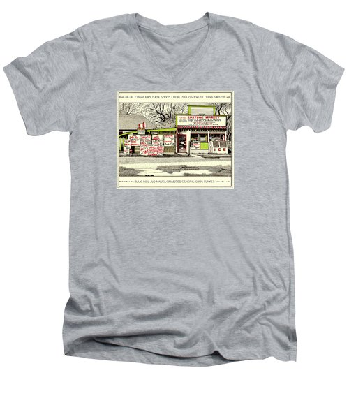 Men's V-Neck T-Shirt featuring the painting Eastside Market by Chholing Taha