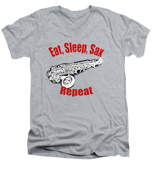 Eat Sleep Sax Repeat Men's V-Neck T-Shirt by M K  Miller
