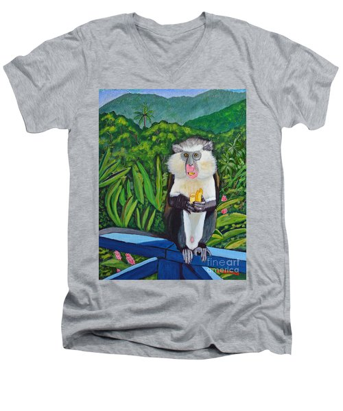 Men's V-Neck T-Shirt featuring the painting Eating A Banana by Laura Forde