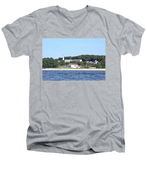 Eatons Neck Lighthouse Men's V-Neck T-Shirt