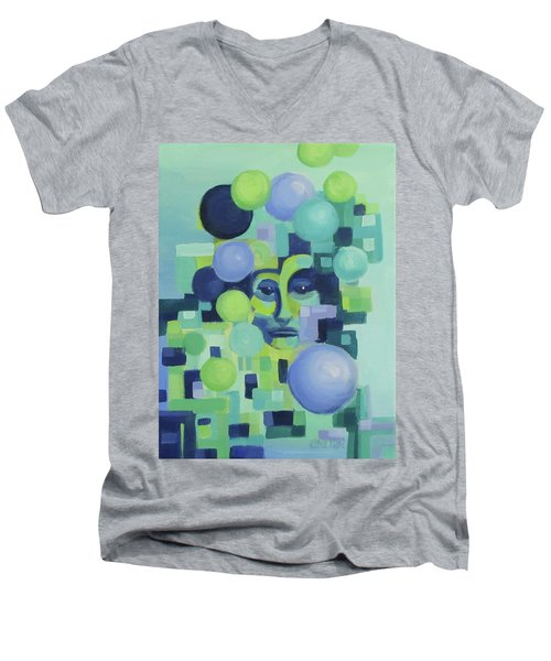 Men's V-Neck T-Shirt featuring the painting Ebbs by Karen Ilari