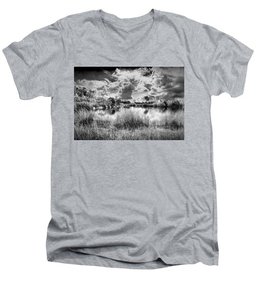 Everglades Lake 5678bw Men's V-Neck T-Shirt
