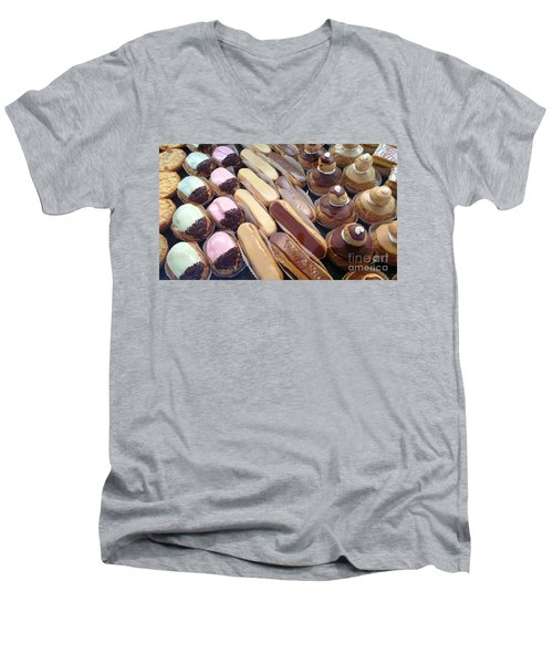 Men's V-Neck T-Shirt featuring the photograph Eclaires by Therese Alcorn
