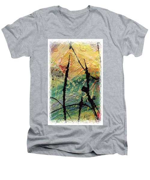 Men's V-Neck T-Shirt featuring the painting Ecstasy II by Angela L Walker