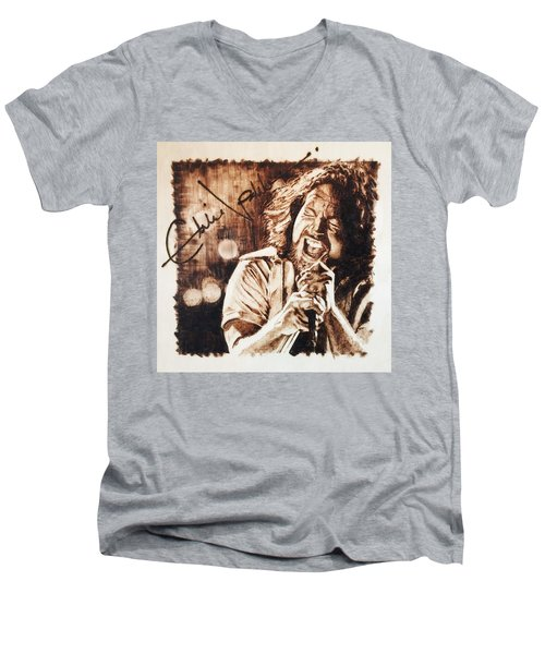 Men's V-Neck T-Shirt featuring the pyrography Eddie Vedder by Lance Gebhardt