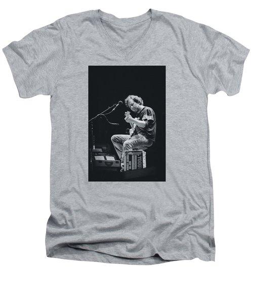 Eddie Vedder Playing Live Men's V-Neck T-Shirt by Marco Oliveira