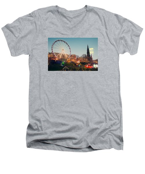Men's V-Neck T-Shirt featuring the photograph Edinburgh And The Big Wheel by Ray Devlin