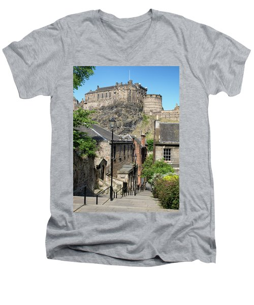 Men's V-Neck T-Shirt featuring the photograph Edinburgh Castle From The Vennel by Jeremy Lavender Photography