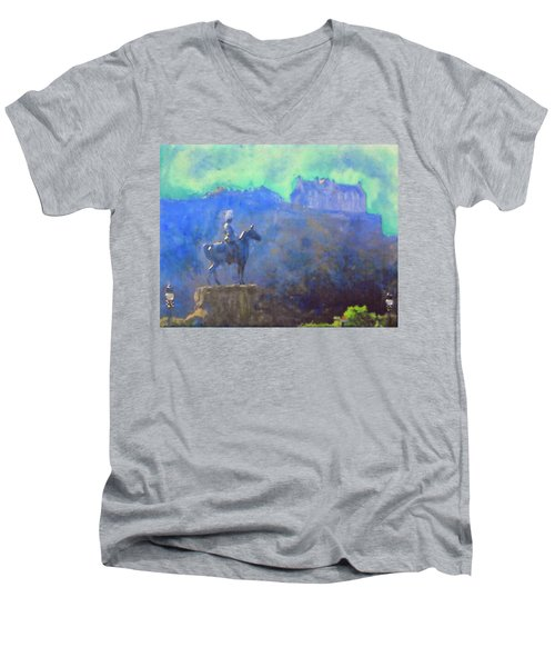 Men's V-Neck T-Shirt featuring the painting Edinburgh Castle Horse Statue by Richard James Digance