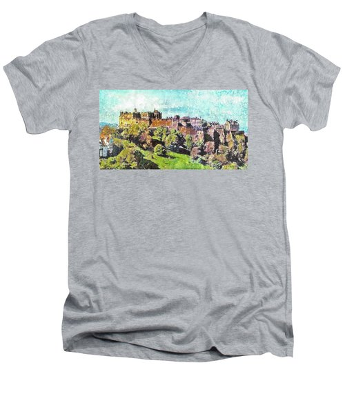 Men's V-Neck T-Shirt featuring the painting Edinburgh Castle Skyline No 2 by Richard James Digance