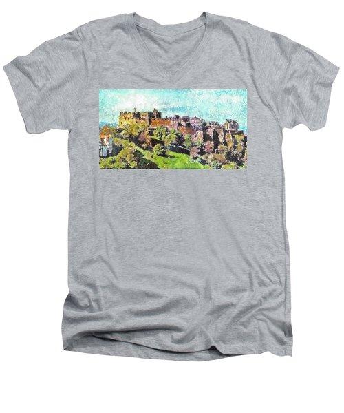 Edinburgh Castle Skyline No 2 Men's V-Neck T-Shirt