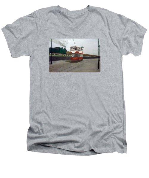 Edinburgh Tram With Goods Train Men's V-Neck T-Shirt