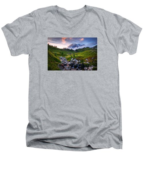 Men's V-Neck T-Shirt featuring the photograph Edith Creek Sunset by Dan Mihai