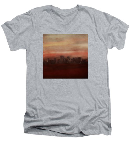 Edmonton At Sunset Men's V-Neck T-Shirt