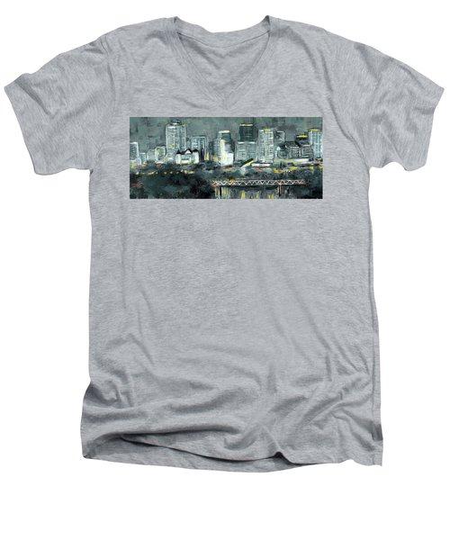 Edmonton Cityscape Painting Men's V-Neck T-Shirt