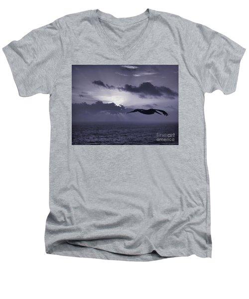 Pelican At Sunrise Men's V-Neck T-Shirt