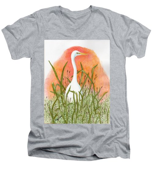 Men's V-Neck T-Shirt featuring the painting Egret Color In Sunset by Peggy A Borel