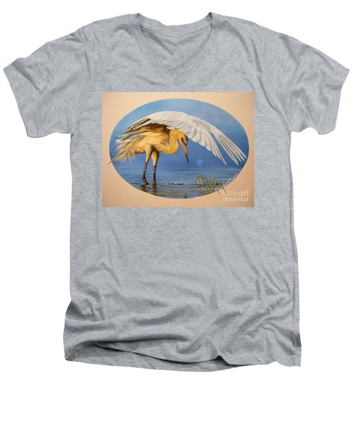 Men's V-Neck T-Shirt featuring the painting Egret Fishing by Sigrid Tune