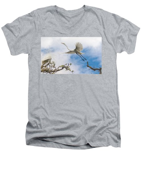 Egret Grace Men's V-Neck T-Shirt