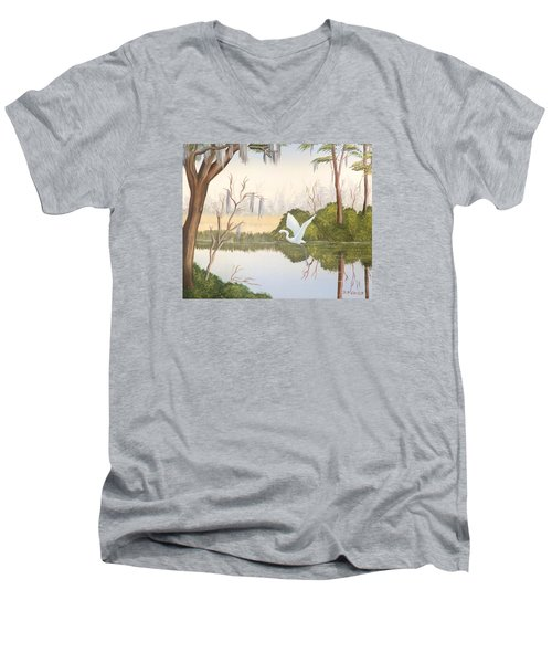 Egret In Flight 1 Men's V-Neck T-Shirt by Denise Fulmer