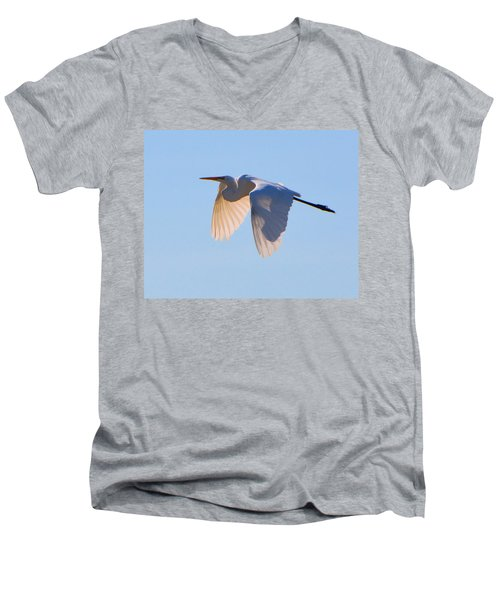 Egret In Silhouette Men's V-Neck T-Shirt by Josephine Buschman