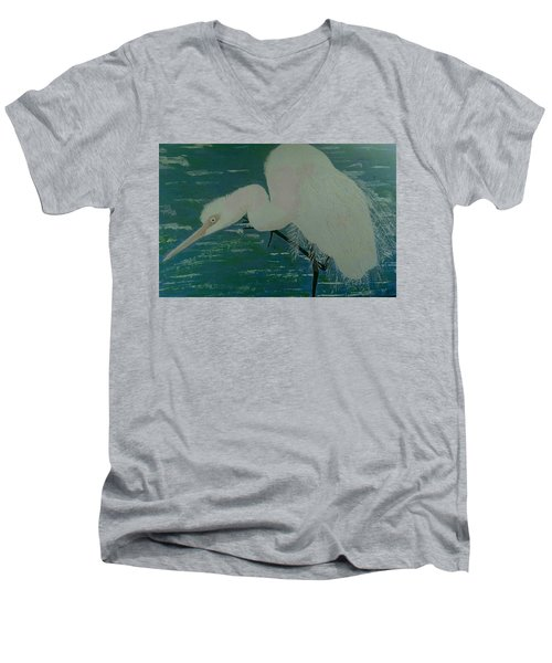 Men's V-Neck T-Shirt featuring the painting Egret by Judi Goodwin