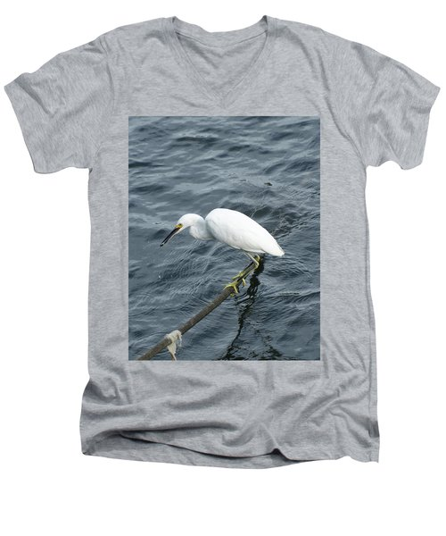 Men's V-Neck T-Shirt featuring the photograph Egret On The Munch by Margie Avellino