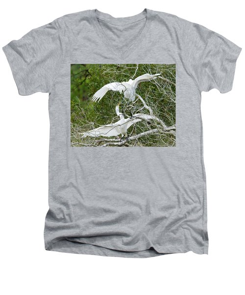Men's V-Neck T-Shirt featuring the photograph Egret Rumble by George Randy Bass