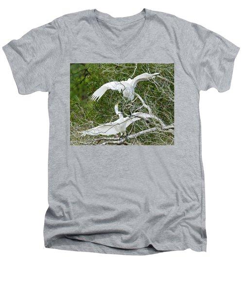 Egret Rumble Men's V-Neck T-Shirt by George Randy Bass