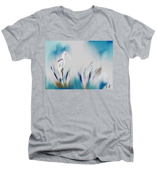 Egret Splash Men's V-Neck T-Shirt by Frank Bright