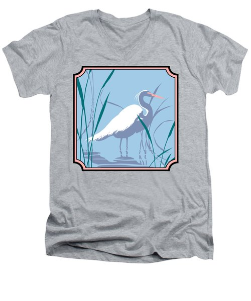 Egret Tropical Abstract - Square Format Men's V-Neck T-Shirt by Walt Curlee