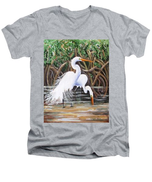 Egrets And Mangroves Men's V-Neck T-Shirt