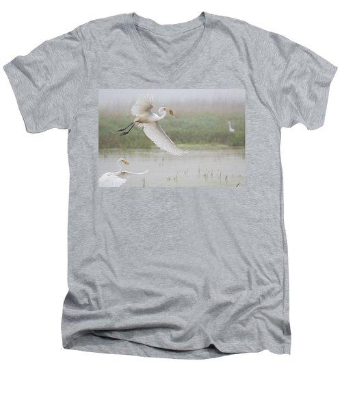 Egrets Fish Men's V-Neck T-Shirt