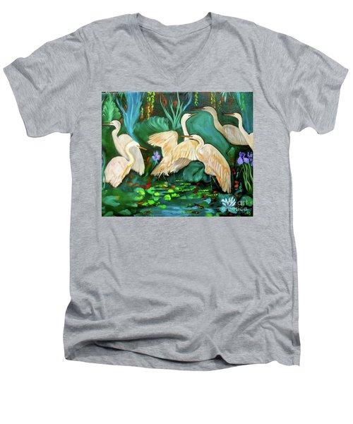 Egrets On Lotus Pond Men's V-Neck T-Shirt by Jenny Lee