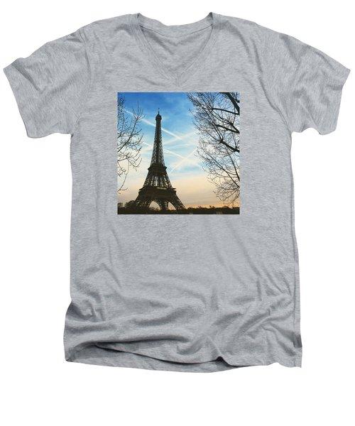 Eiffel Tower And Contrails Men's V-Neck T-Shirt by Aurella FollowMyFrench