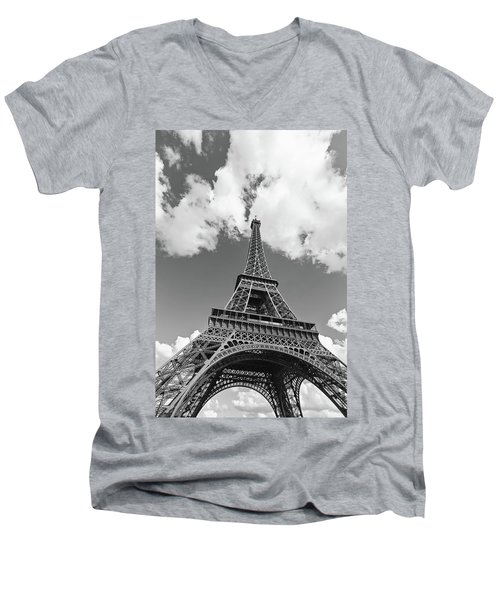 Eiffel Tower - Black And White Men's V-Neck T-Shirt