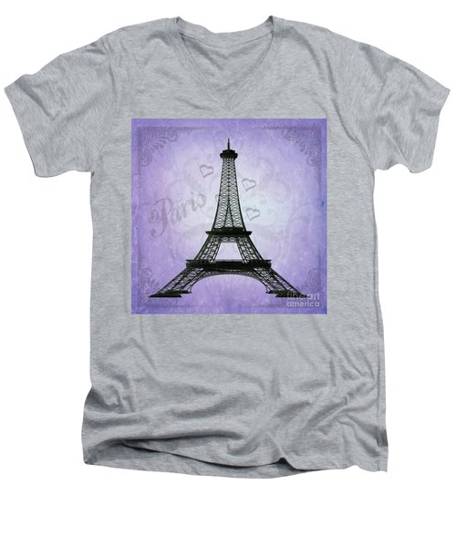 Eiffel Tower Collage Purple Men's V-Neck T-Shirt