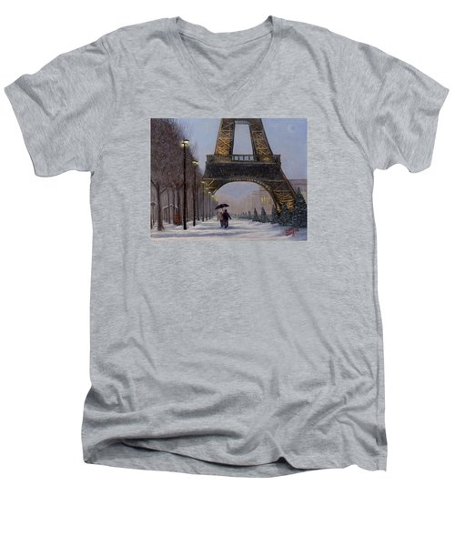 Men's V-Neck T-Shirt featuring the painting Eiffel Tower In The Snow by Dan Wagner