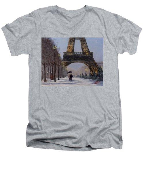 Eiffel Tower In The Snow Men's V-Neck T-Shirt