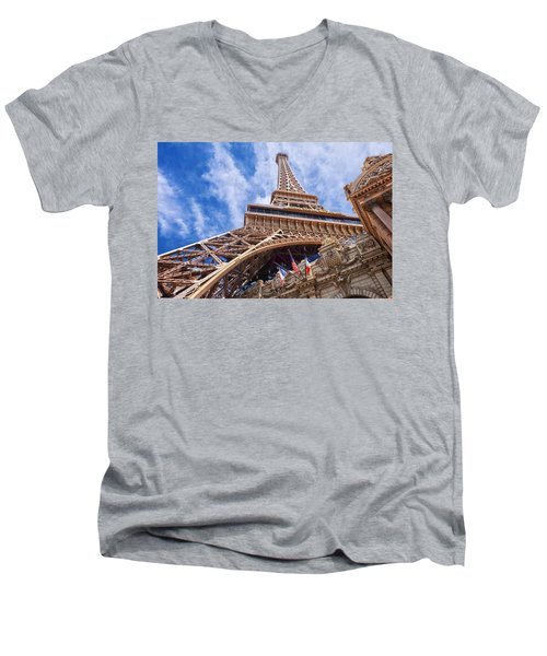 Men's V-Neck T-Shirt featuring the photograph Eiffel Tower Las Vegas  by Ricardo J Ruiz de Porras
