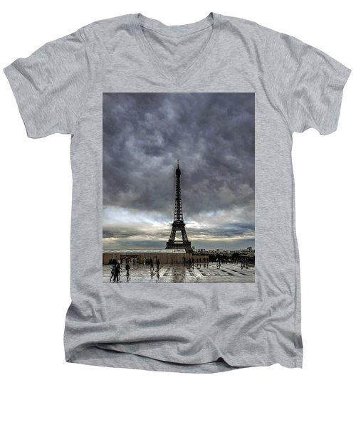 Eiffel Tower Paris Men's V-Neck T-Shirt by Sally Ross