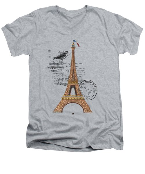 Eiffel Tower T Shirt Design Men's V-Neck T-Shirt