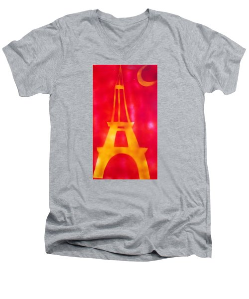 Men's V-Neck T-Shirt featuring the painting Eiffel Tower Yellow Glowing by Don Koester