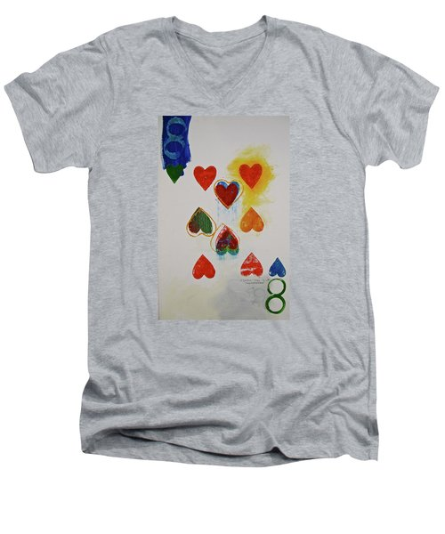 Eight Of Hearts 9-52  2nd Series  Men's V-Neck T-Shirt by Cliff Spohn