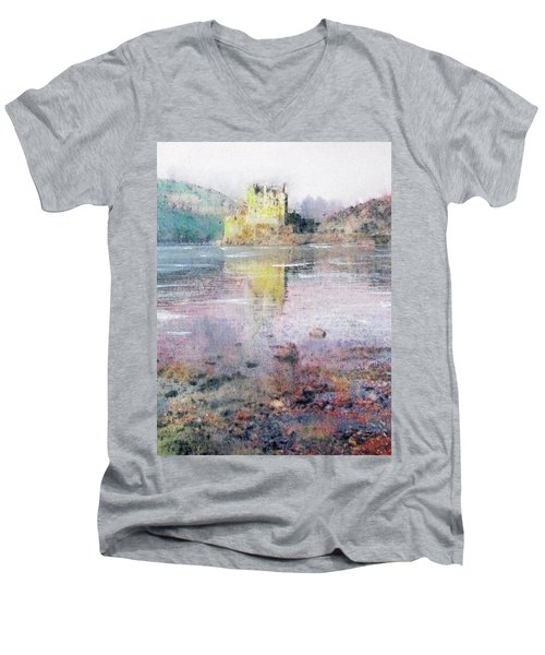 Men's V-Neck T-Shirt featuring the painting Eilean Donan Castle  by Richard James Digance