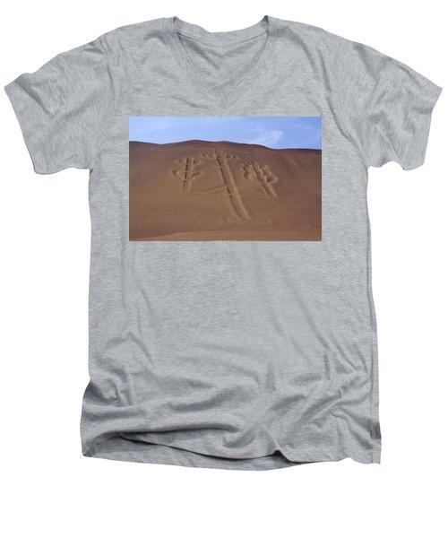 Men's V-Neck T-Shirt featuring the photograph El Candelabro Peru by Aidan Moran
