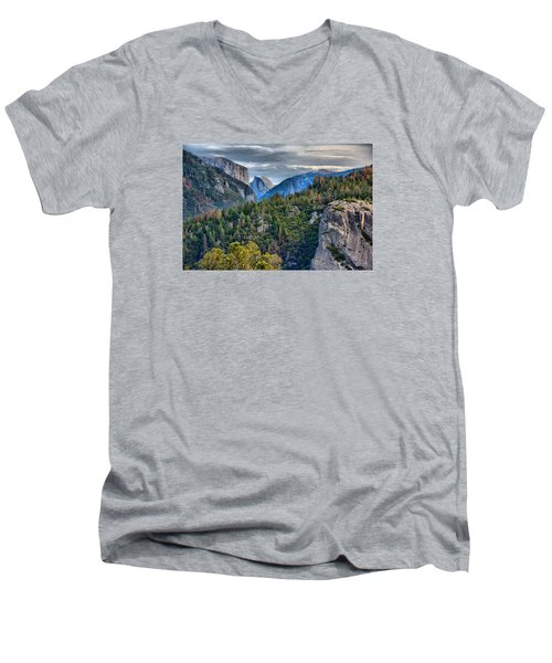 El Capitan And Half Dome Men's V-Neck T-Shirt by Josephine Buschman
