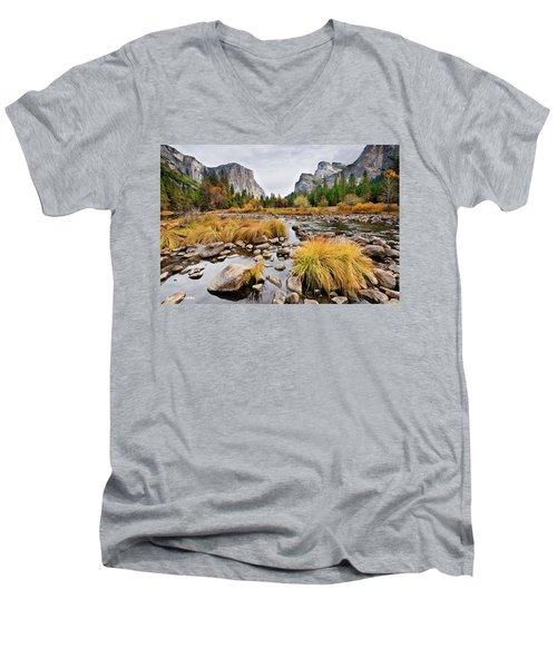 El Capitan And The Merced River In The Fall Men's V-Neck T-Shirt
