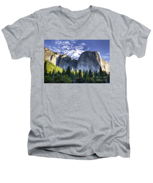 Men's V-Neck T-Shirt featuring the photograph El Capitan  by Vincent Bonafede