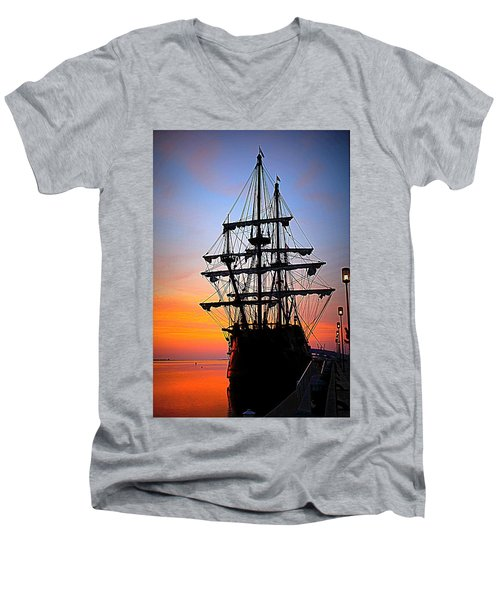 El Galeon At Sunrise Men's V-Neck T-Shirt